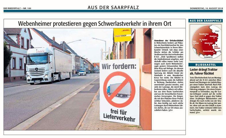 Bericht aus der Rheinpfalz am 16.08.2018