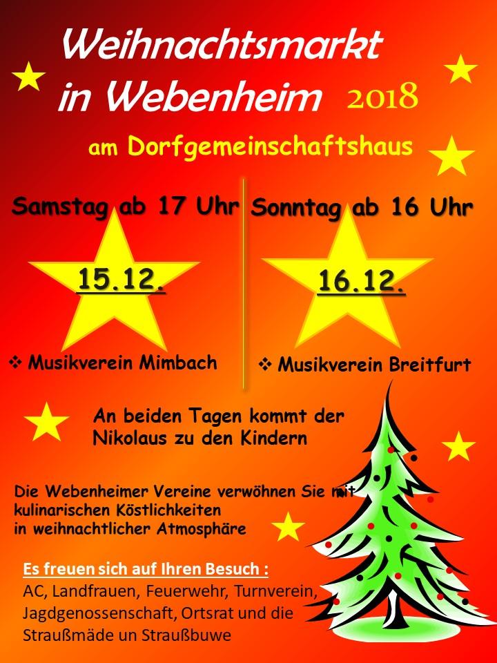 Webenheimer Weihnachtsmarkt am 15. und 16.12.2018
